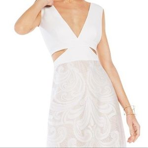 BCBGMAXAZRIA Marilyne Swirl Lace Cutout Gown